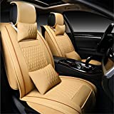 RISHIL WORLD PU Leather 5 Seats Car Seat Cover Cushion Front Rear with Lumbar Pillow Head Rest