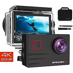 Apexcam EIS Caméra Sport 4K Ultra HD 20MP WiFi 170 ° Grand-Angle 40M Caméra Etanche Externe Mic 2.0 '' LCD HD Ecran 2.4G Télécommande 2 Piles Rechargeables et Accessoires