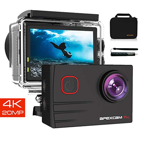 Apexcam Action Cam PRO 4K HD 20MP EIS WIFI Ultra Impermeabile 40M Sott'acqua Action Camera Mic Esterno 2 Pollici 2.4G Telecomando 170°Grandangolare con due 1200mAh Batterie e Kit di Accessori