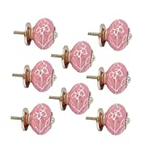 #4: JP Hardware pack of 8 Ceramic Pink Knobs for Cabinets & Cupboards| Drawer Pulls