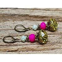 Vintage Ohrringe mit Glasperlen - oliv, pink & bronze