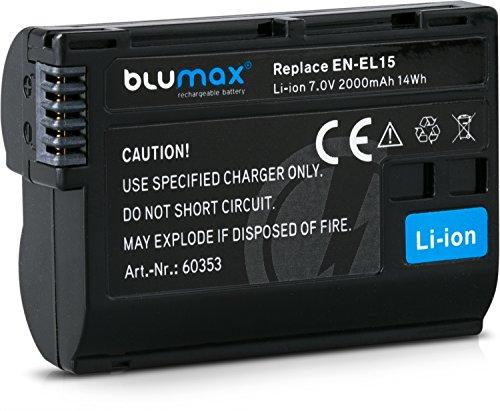 Blumax Akku für Nikon EN-EL15 EN-EL15a 2000mAh kompatibel mit DSLR D7200 D750 D500 D7000 D800 D810 D810e D600 D610 D7100 D850 D7500 7,0V 14Wh