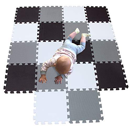 MQIAOHAM juego de enclavamiento juego de bebé tapetes para niños tapetes para niños foammats playmats estera del rompecabezas bebé 18 piezas niños tapete tapete tapete blanco negro gris 101104112