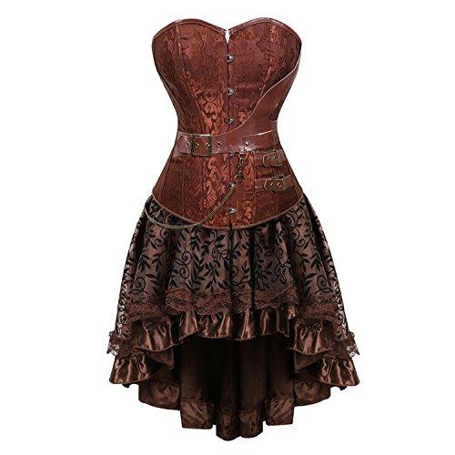 aizen Damen Gothic Steampunk Schädel Korsett Kleid Spitze Kostüm Burlesque Vollbrust Corsagen Set Leder Retro Gothic Halloween Braun - Steampunk Burlesque Kostüm
