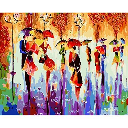 DAMENGXIANG DIY Handgemalte Zahlen Ölgemälde Regnerischen Menschenmenge Moderne Abstrakte Kunst Bilder Für Wohnzimmer Wohnkultur 40 × 50 cm Mit Rahmen