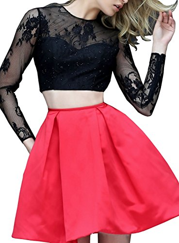 Bridal_Mall - Robe - Trapèze - Manches Longues - Femme 34 Rouge