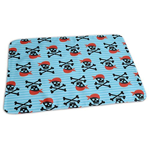 Voxpkrs Pirate Skull Wallpaper Portable Changing Pad,Reusable Unisex Baby Soft Changing Mat with Reinforced Seams -