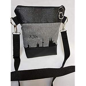 Handtasche Köln Umhängetasche Schultertasche Kunstleder grau schwarz Glitzer handmade bestickt