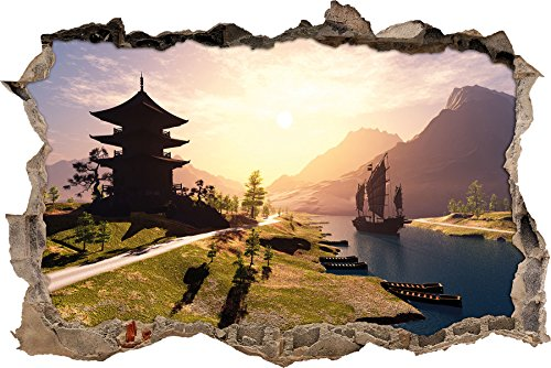 beeindruckender asiatischer Tempel an Fluss Wanddurchbruch im 3D-Look, Wand- oder Türaufkleber, Wandsticker, Wandtattoo, Wanddekoration