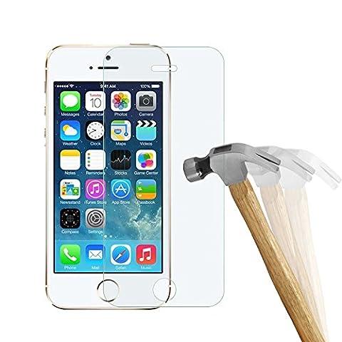 wortek Premium 9H Hartglas / Panzerglas für Apple iPhone 5 / 5S / SE Displayschutzglas / Tempered Glass / Panzer Glas Display Schutz Folie / Schutzglas / Echt Glas / Verbundglas / Glasfolie Sicherheitsglas für iPhone 5 /