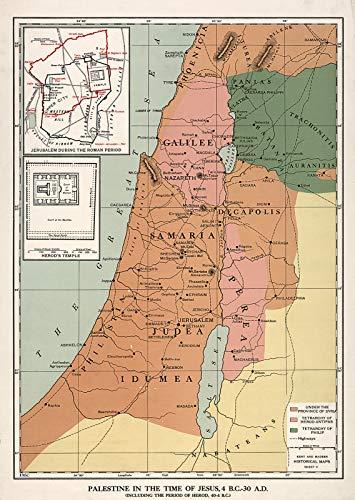 Große Antike Karte (Riley Creative Solutions Poster, Motiv Palästina in der Zeit Jesus, 4 BC - 30 AD-Karten, 3 Größen 23