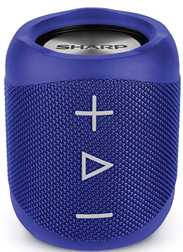 Sharp GX-BT180(BL) Stereo Bluetooth Speaker - immersive sound - powerful bass - highly dynamic sound range/ 10 h playtime - rechargeable battery/splash-dustproof /Call Answering (Google & Siri) - Blue