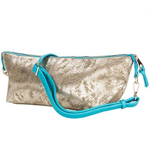 Vangoddy Reptilia Serie Borsa donna a mano shopping bag modello da spalla trama a maglia eco pelle (Oro/Blu)