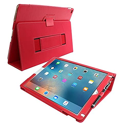 iPad Pro 12.9 (2017) Case, Snugg - Red Leather Smart Case Cover [Lifetime Guarantee] Apple iPad Pro 12.9 (2017) Protective Flip Stand Cover with Auto Wake / Sleep