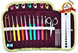 #7: Crochet Hooks Soft Handle Kit in Gorgeous Plum Velveteen Lined Lace Accented Easy-Open Snap Tri-Fold Clutch - Crochet Set Complete with (Scissors, Stitch Markers, Gauge Measure, Yarn Needles, 4.5 Safety Pin, Row Counter) - Lifetime Replacement Guarantee