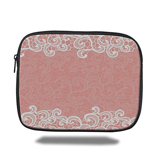 air 2/3/4/mini 9.7 inch,Peach,Lace Design on Soft Colored Background Ornamental Pattern Wedding Inspired Image,Coral White ()
