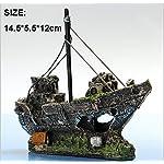 Kfnire Resin Fishing Boat Aquarium Ornament Plastic Decoration Plant for Fish Tank Accessories 9