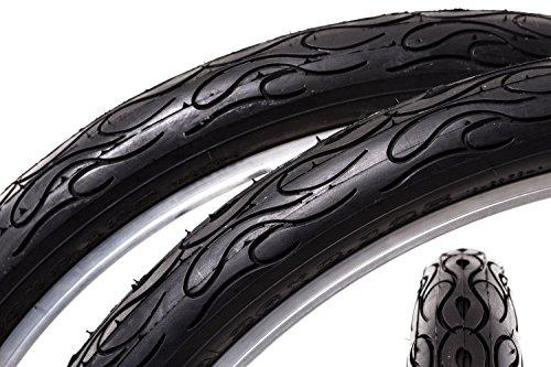 "2 Stück 26\"" Fahrrad Reifen Mantel 57-559 Beach Cruiser 26x2.125 Flame Tire"