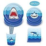 Amycute 69 pcs 8 niños Vajilla Diseño Tiburon Desechable, Vasos, Platos, Servilletas, Paja Vajilla de cumpleaños Infantil Fiesta de Tiburon Fiesta Deco, Baby Shower