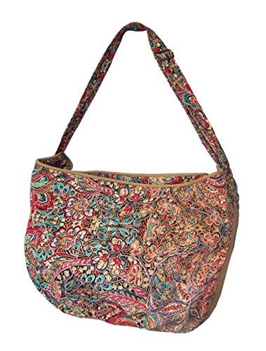 Leinwand Cool Damen Handtaschen, Hobo-Bags, Schultertaschen, Beutel, Beuteltaschen, Trend-Bags, Velours, Veloursleder, Wildleder, Tasche Mehrfarbig Keshi