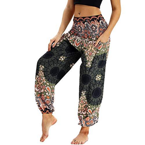 Nuofengkudu Damen Hippie Haremshose Capri Thai Hose Leichte mit Taschen Dünn Boho Ethno Blumenmuster Muster Strand Sommerhose Yogahose Braun Floral -