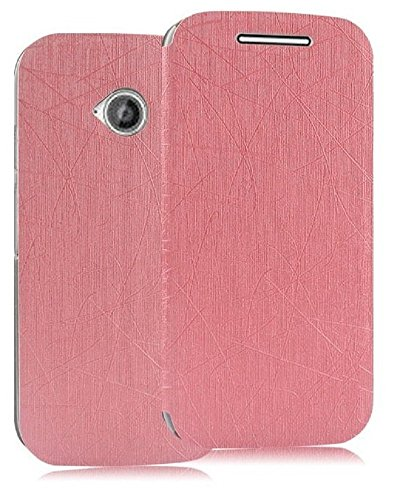 Heartly Premium Luxury PU Leather Flip Stand Back Case Cover For Motorola Moto E 2nd Generation / Moto E2 XT1505 - Cute Pink