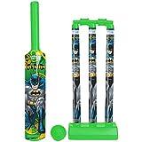 Zitto Batman Medium Cricket Set with 1 Plastic Bat and Ball, 3 Wickets, Base and Bail