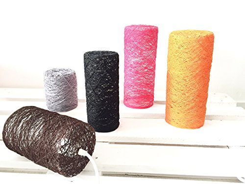 Lámpara de de sobremesa cilíndrica decorativa de hilo de algodón, artesanal, hecha a mano 20x12 cms.