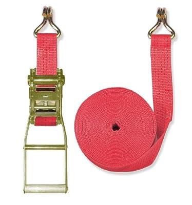 Braun Spanngurt 5000 daN, zweiteilig, Farbe rot, 8 m Länge, 50 mm Bandbreite, mit Langhebel-Ratsche und Spitzhaken
