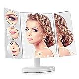 Easehold Verbesserte Beleuchteter Schminkspiegel mit 35 Leuchten Spiegel Vergrößerung 1X / 3X / 5X/ 10X, mit Touchscreen, 360-Grad-Drehung Kosmetikspiegel für Schönheitpflege (Weiß)