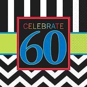 Amscan International Serviettes en papier motif 60e Celebrate 33cm
