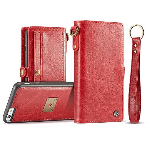 """BINGRAN iPhone 6s Plus Hülle, 2 in 1 Premium PU Leder TPU Innen [Abnehmbare Magnetische] mit Wrist Strap Brieftasche Karteneinschub Schutzhülle Tasche Etui Hülle für iPhone 6 Plus/6s Plus 5.5"""" Rot"""