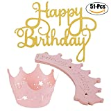 Best Wishes Cupcake Toppers - Coxeer Cake Topper, Happy Birthday Cake Topper Double Review
