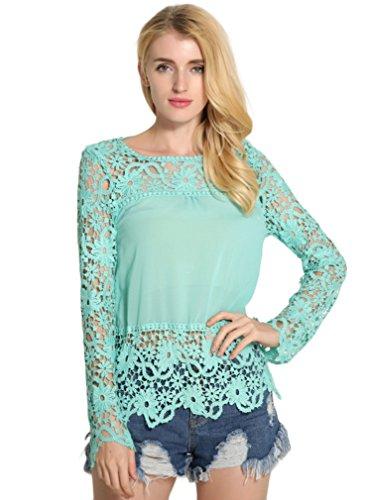BININBOX® Damen elegant Langarmshirt Shirt mit Spitze Lace Spitzenshirt Slim Fit Top Bluse Shirt Tunika Hemd in 7 Farben Hellblau