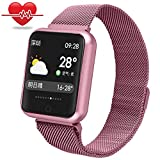 Fitness trackers mit Pulsmesser,Miya wasserdicht Bluetooth Smartwatch intelligente Blutdruck Sport Uhr Herzfrequenz Armbanduhr Fitness Tracker Schrittzähler für iPhone Samsung Android(Roségold