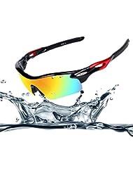 Ewin E11 Gafas de Sol de Deporte Polarizadas, 4 Lentes Intercambiables, TR90 Marco Irrompible, Antiniebla, Lentes Impermeables Gafas (Negra y Roja)