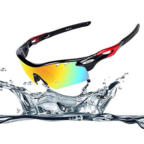 Ewin E11 occhiali sportivi occhiali da sole polarizzati TR90, 4 lenti intercambiabili per donne uomini in bicicletta di guida in bicicletta Pesca Golf e altre attività all'aperto (Nero&Rosso)