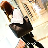 meizu88 Women Big Faux Leather Zipper Solid Color Shopping Tote Handbag Shoulder Bag size 42cm x 33cm x 24cm (Black)