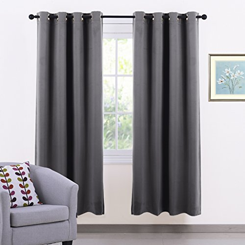 Window Treatment Eyelet Blackout Curtains - PONY DANCE Thermal Insulated  Blackout Curtains Curtains Curtains Room Darkening for Bedroom / Windows  Drapery, ... - Grey Bedroom Curtains: Amazon.co.uk