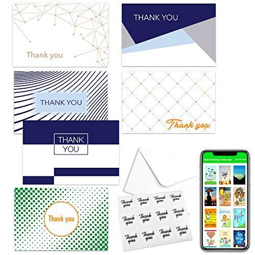 Dankeskarten mit Umschlägen und Aufkleber, für Hochzeit, Babyparty, Abschlussfeier, Trauerfeier, Beerdigung und Beerdigung, 6 Designs, 10 x 15 cm, Fotogröße 48 Stück 4x6inch 48 Pack Geometry