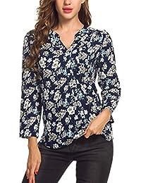 Meaneor Damen Locker Casual Bluse mit allover Blumenprint Beiläufig Bluse  Schluppenbluse Klassic Hemd Blusenshirt… ed8ffc54e8