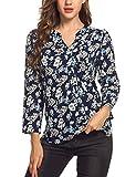Meaneor Damen Locker Casual Bluse mit allover Blumenprint Beiläufig Bluse Schluppenbluse Klassic Hemd Blusenshirt Loose fit Baumwolle, Gr.-EU 42(Herstellergröße: XL),Marine+Blumen