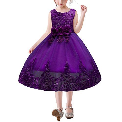 HUAANIUE Mädchen Kleider Lang Brautjungfern Kleid Prinzessin Hochzeit Party Kleid Lila 110