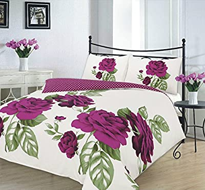 New Design Isabella Floral Pink Teal Plum Red Black Green Duvet Quilt Cover Pillowcase Bedding Set - low-cost UK light shop.