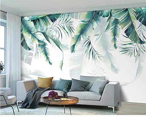 Tapeten Anpassbare Wandgröße Hand Gezeichnete Grüne Palme Bananenblätter Schlafzimmer Tv Hintergrund Wand Diy Silk Cloth Home Decoration 250 (B) X 175 (H) Cm