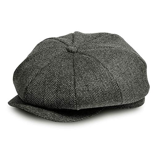 AYAMAYA Flat Cap, Classic 'Shelby' Newsboy Cap Gatsby Baker Boy Hat Tweed for Men Women (Grau Herringbone) Tweed-hut