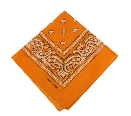 Paisley Bandana Tuch mit Kopfbedeckungen Haar Bands Schal Hals Handgelenkriemen headtie Band Gr. onesize, Schwarz - Orange (Paisley Blue Bandanas)