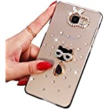 Coque Galaxy A3 (2016), Sunroyal® Transparente Bling 3D Luxe Diamant Strass Etui Housse Ultra Slim Hard PC Plastique Case Cover Clear Portable Protection pour Samsung Galaxy A3 (2016 Version) SM-A310F - Chat