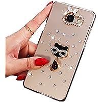 Sunroyal® Ultra Sottile Bling Duro Back Custodia per Samsung Galaxy A3 SM-A310F (2016 Version), 3D Transparente Chiaro Glitter Diamanti Case Cover Posteriore Telefono Protector (Cristallo Gatto)