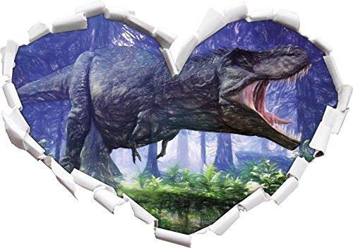 T-Rex Dinosaurier im Wald Kunst Buntstift Effekt Herzform im 3D-Look , Wand- oder Türaufkleber...